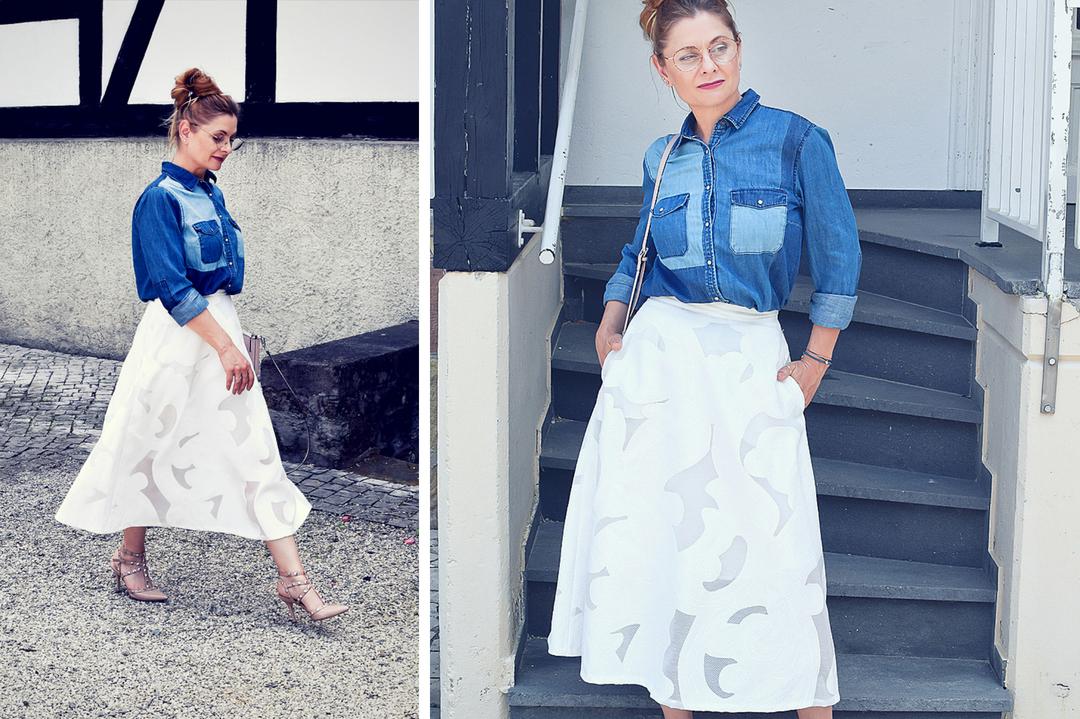 Jeanshemd und Rock, Modeblog für Frauen über 40, Ü40 Blog