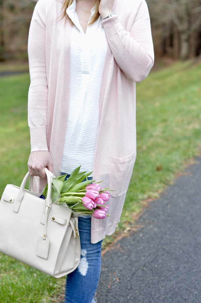 Pink Long Cardigan Outfit A Blonde's Moment