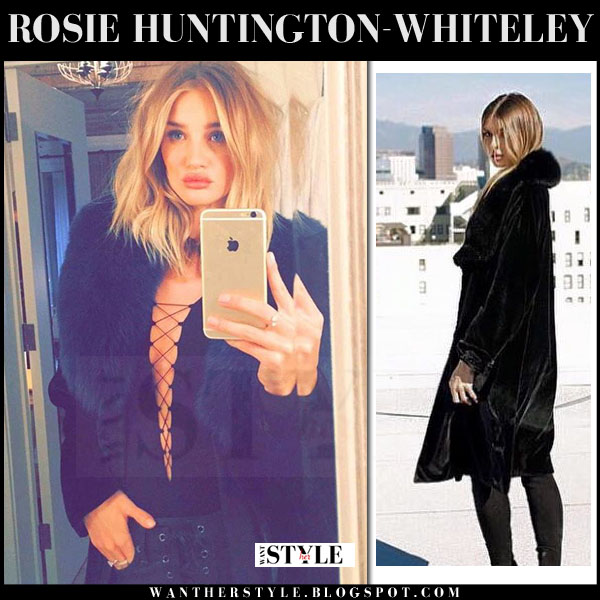 Rosie Huntington-Whiteley in black fur collar coat the perfext penelope what she wore