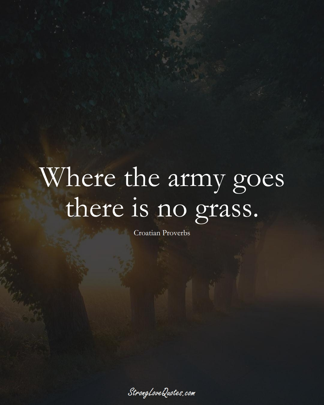 Where the army goes there is no grass. (Croatian Sayings);  #EuropeanSayings