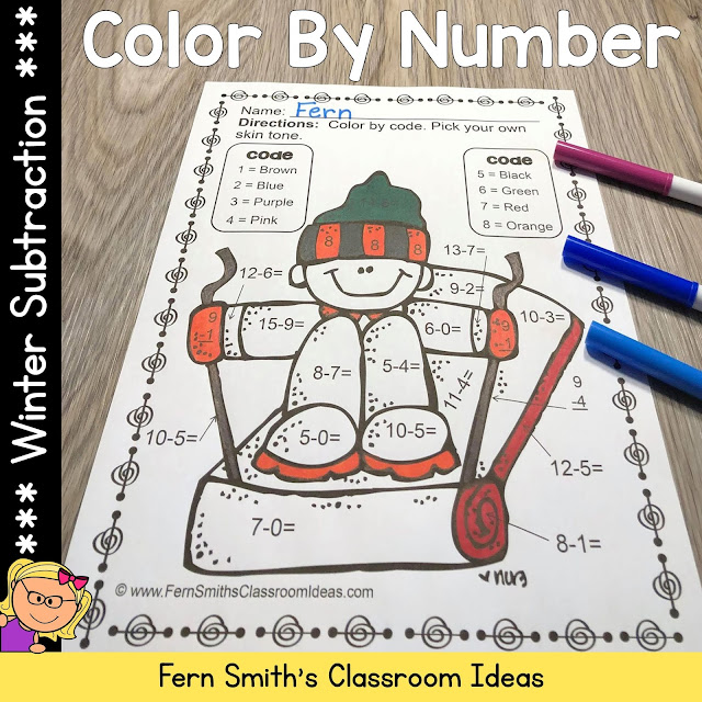 Winter Color By Number Subtraction #FernSmithsClassroomIdeas