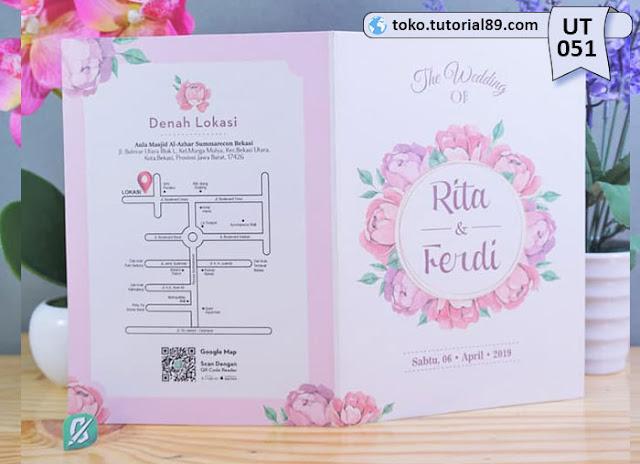 Undangan pernikahan UT051 - Seimpel Lipat 2 +free kartu ucapan terima kasih