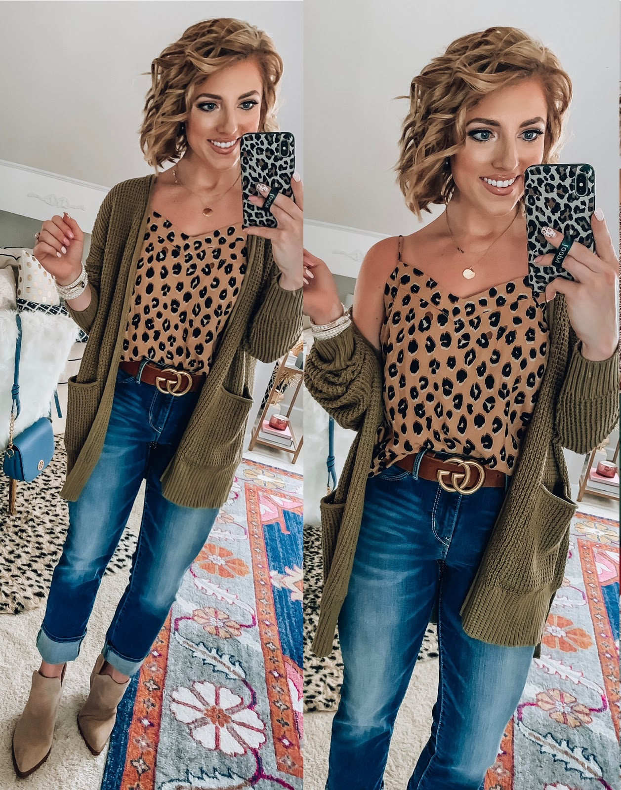 Target Fall Finds: Part One - Under $20 Leopard Cami, Under $30 Olive Cardigan + Under $30 Jeans - Something Delightful Blog