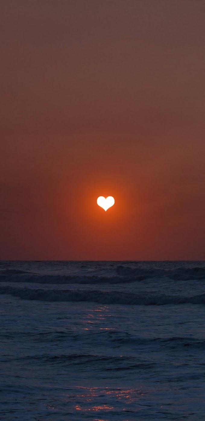 Papel de Parede Celular Pôr do Sol de Coração