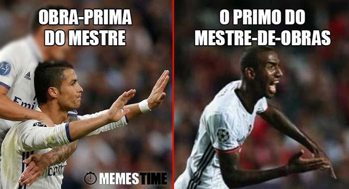 Memes Time - Champions League: Cristiano Ronaldo marca frente ao Sporting e Anderson Talisca marca frente ao Benfica e festejam de modo bem diferente – Obra-prima do Mestre vs o Primo do Mestre-de-obras