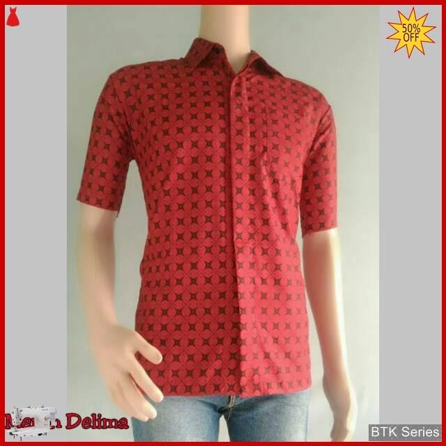 BTK164 Baju Ecer Merah Delima Hem Batik Murah BMGShop