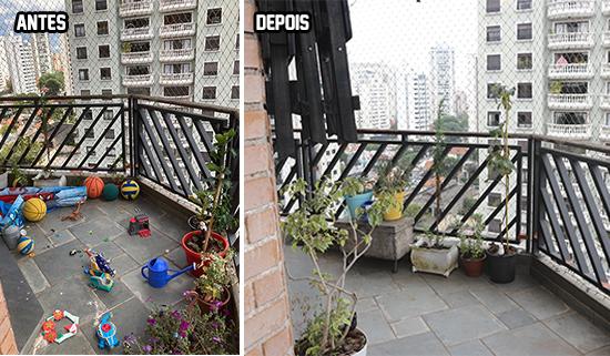 varanda antes e depois