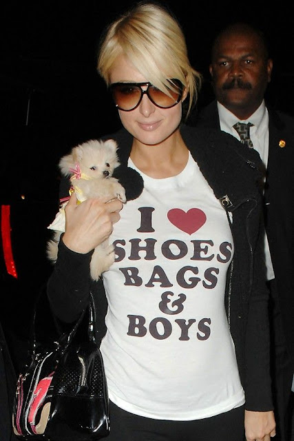 Paris Hilton 'I Love Shoes Bags & Boys' shirt