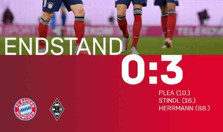 Hasil Bayern Munchen vs Monchengladbach Skor Akhir 0-3