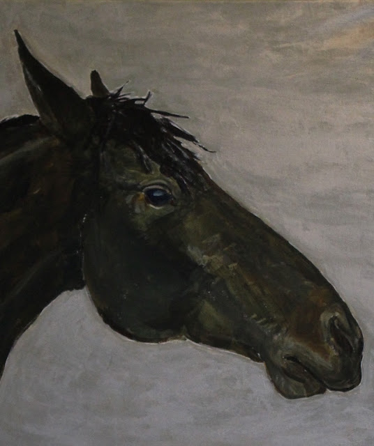 horse, painting, art, arte, pintura, sarah, myers, animal, caballo, mane, eye, arch, silver, acrylic, large, dark, black, modern, contemporary, artist, paint, metallic, gray, grey, strong, close-up, detail, muzzle, nose, ears, cheek, nostril, equine