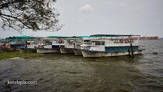 Tourist boats docked at marine drive, Kochi