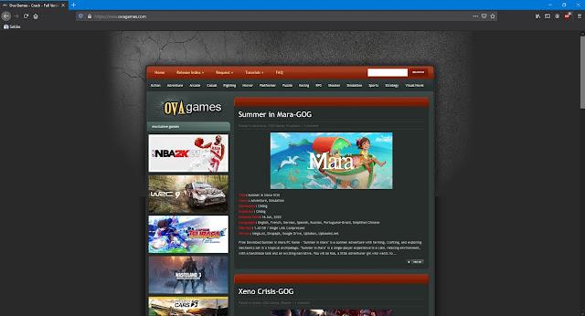 Tampilan halaman situs Ovagames