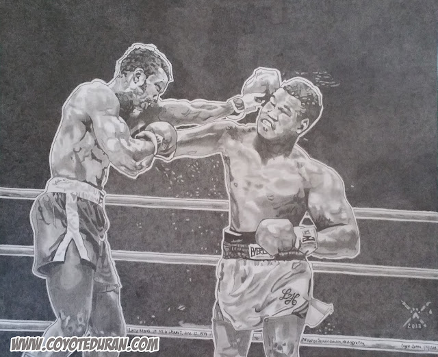 "Larry Holmes vs. Mike Weaver I, 14"" X 17"", Prismacolor Ebony Pencil (Graphite) on Bristol Board. Art by Coyote Duran."