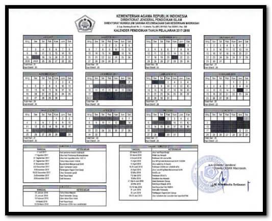 Download Kalender Pendidikan Madrasah 2017/2018