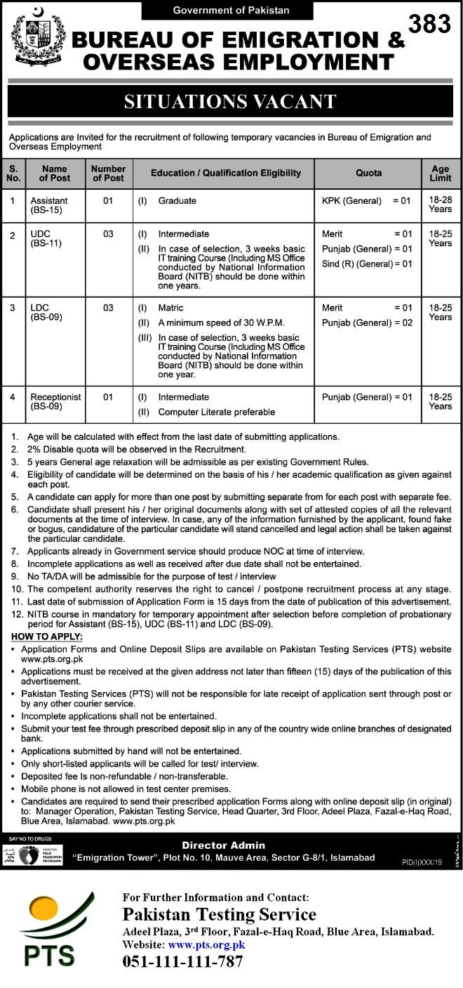 Bureau Of Emigration & Overseas Employment Jobs 2020 - Sindh Jobs