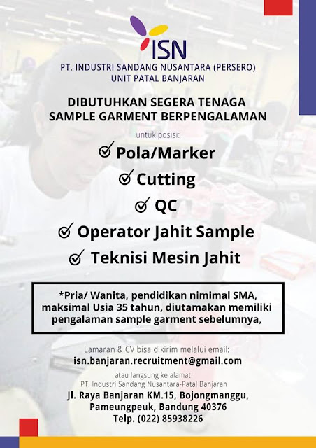 lowongan kerja operator jahit sample industri sandang nusantara