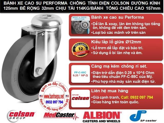 Bánh xe đẩy cao su chống tĩnh điện Colson Mỹ lắp lỗ giữa phi 125 www.banhxedayhang.net