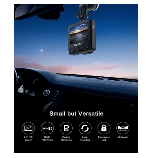 BOOGIIO 1080P Dash Camera for Cars with 2.4 IPS Screen