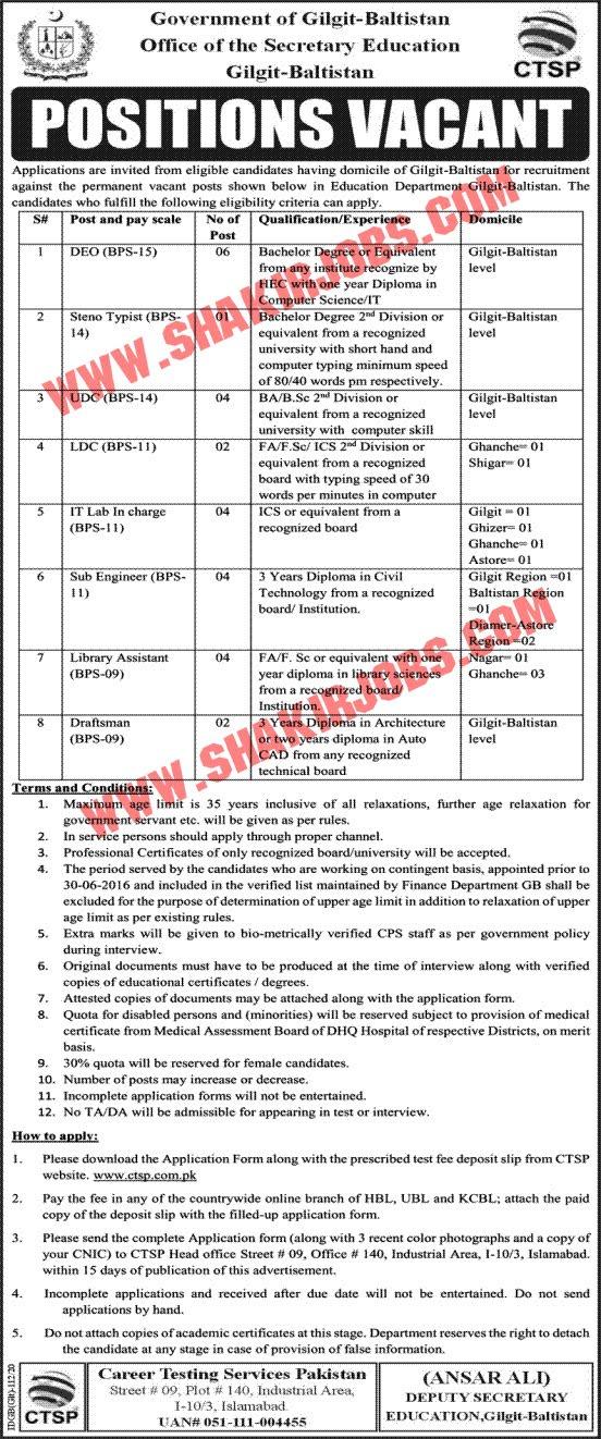 Office Of Secretary Education Gilgit Baltistatn Jobs March 2020