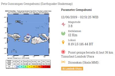 Pusat gempa berada di laut 36 km Timurlaut Lombok Utara dan dirasakan di Lombok Utara.