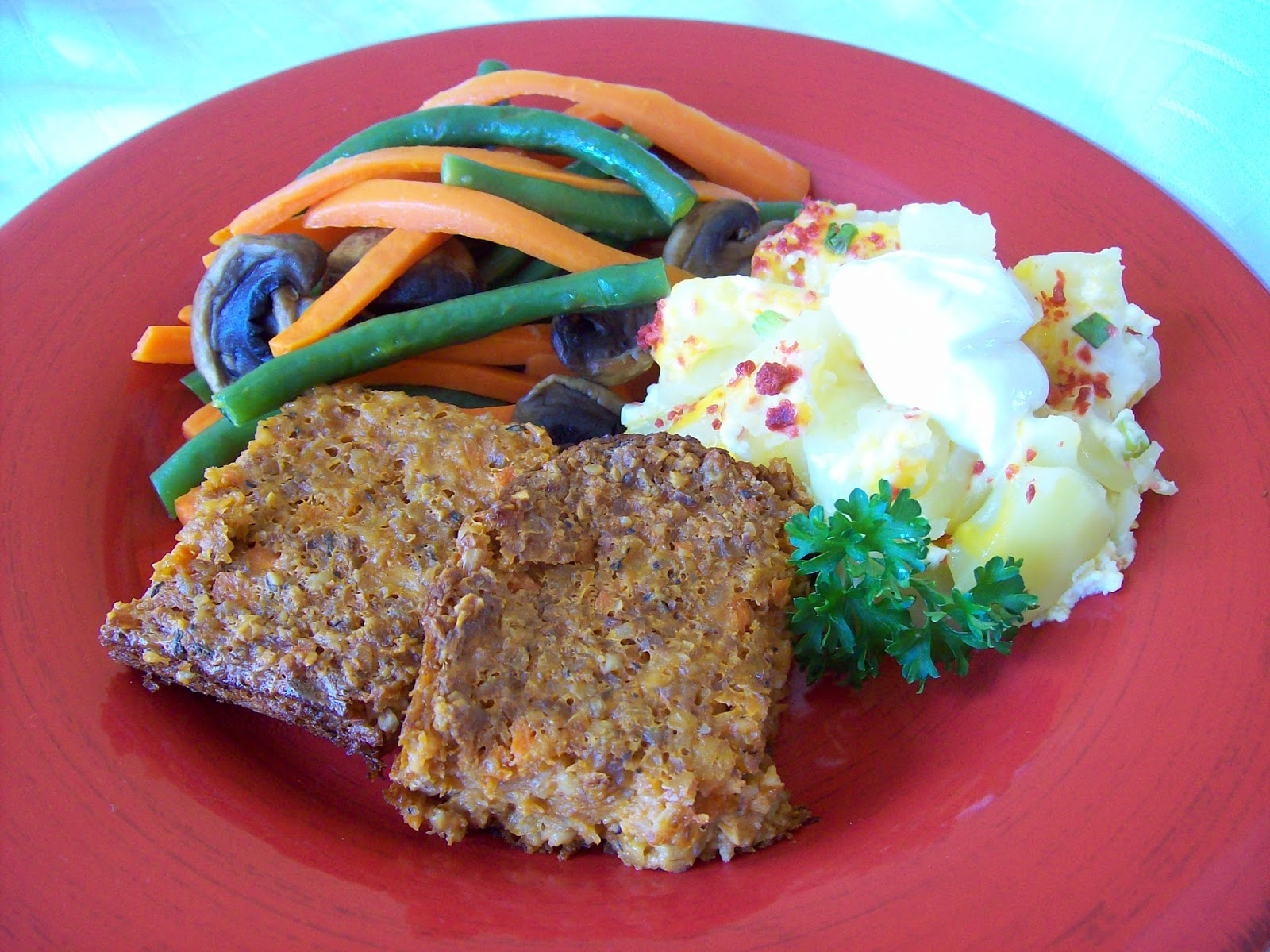 Meatless Loaf served with potatoes and vegetables.