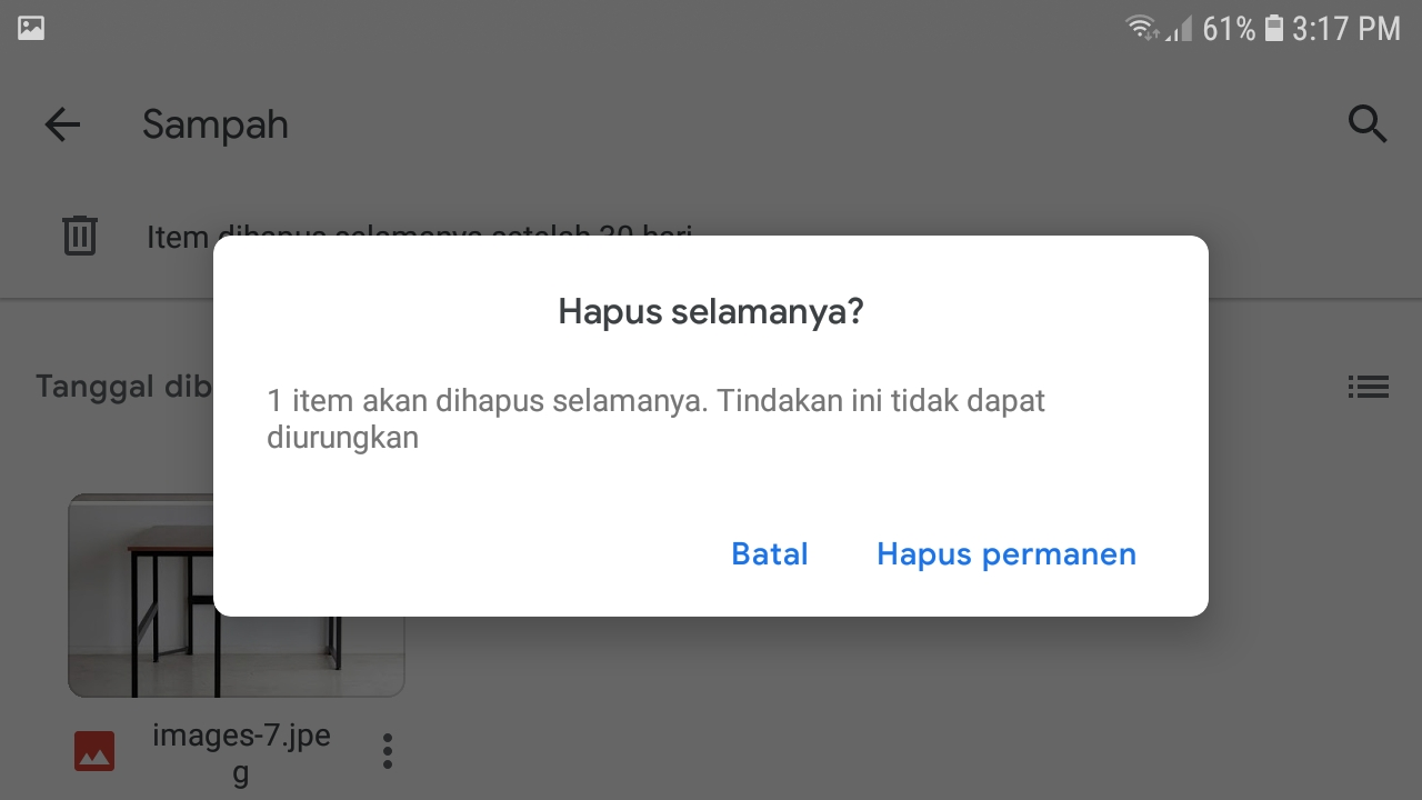 Konfirmasi Penghapusan File Permanen di Google drive