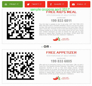 free Chili's coupons april 2017
