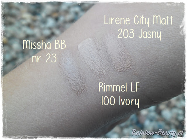 Swatch-rimmel-100-ivory-lirene-city-matt-203-missha-bb-23