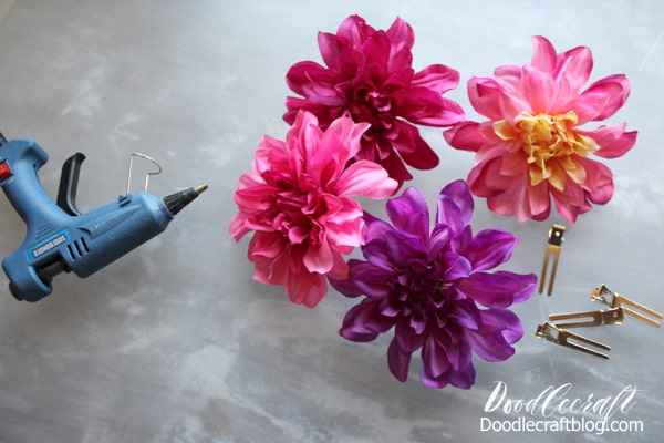 Make a silk flower hair clip bow with hot glue gun