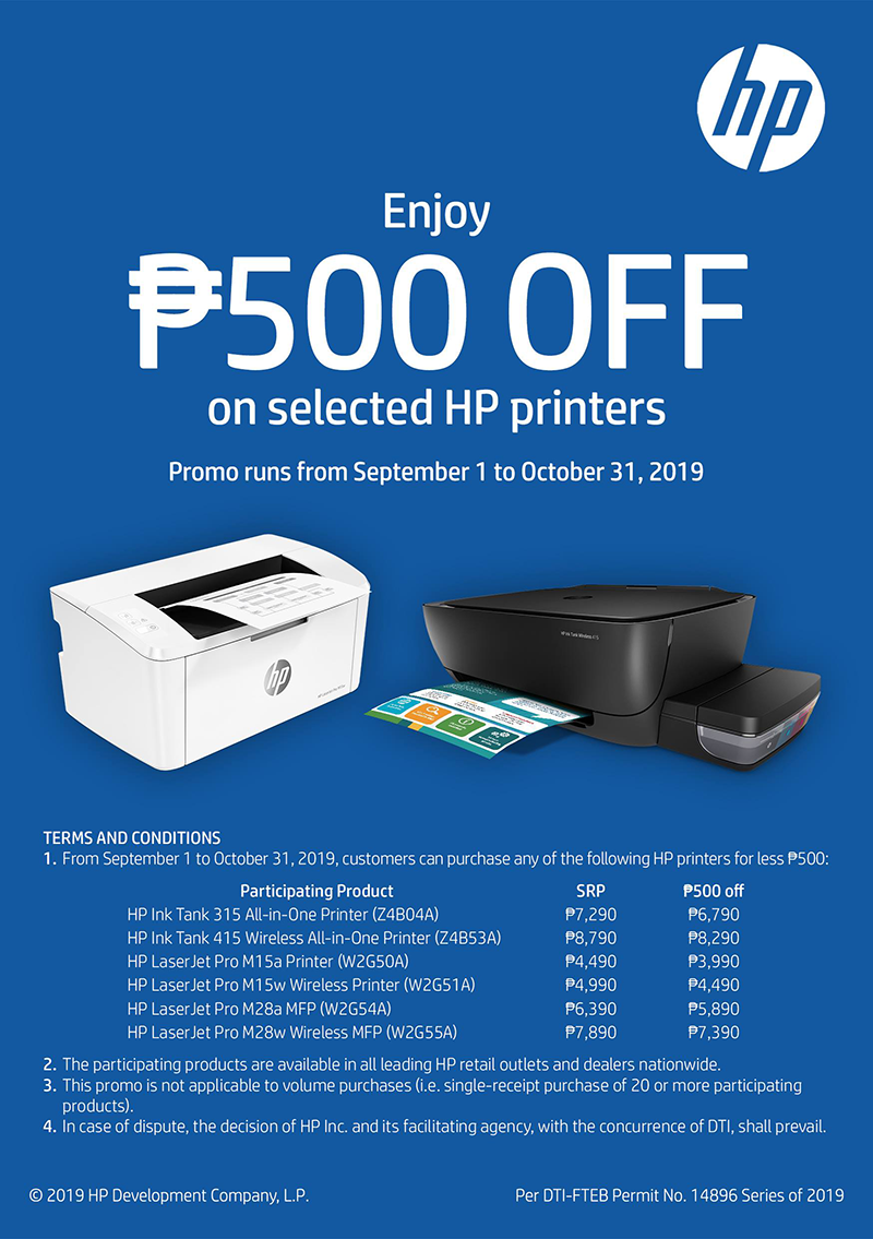 Select HP printers are available for PHP 500 less until October 31