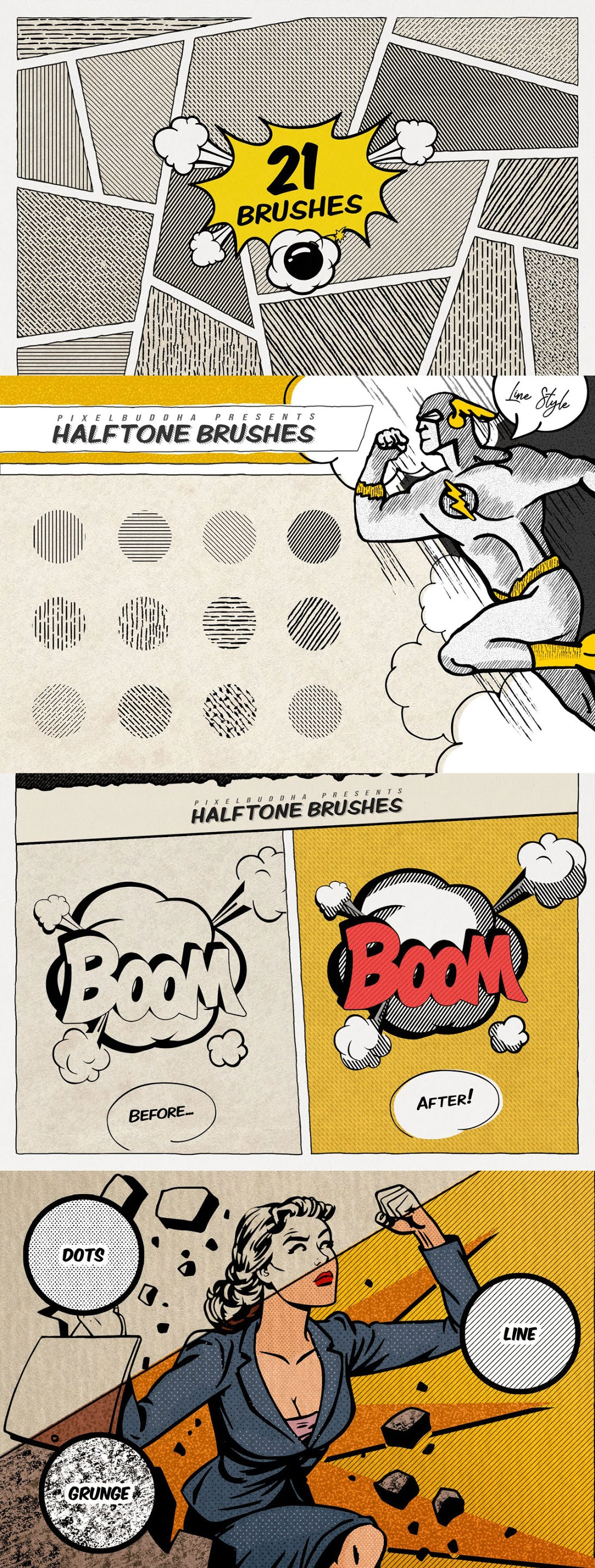 Vintage Comics Line Procreate Brushes Download