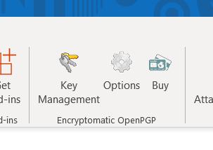 OpenPGP add-in installed in MS Outlook 2019 menu.