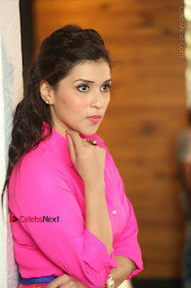 Actress Mannar Chopra in Pink Top and Blue Skirt at Rogue movie Interview  0171.JPG