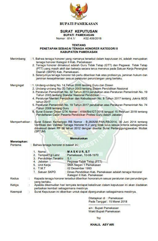 Contoh Draft Sk Buapti Untuk Honorer Kategori 2 Info Ptk