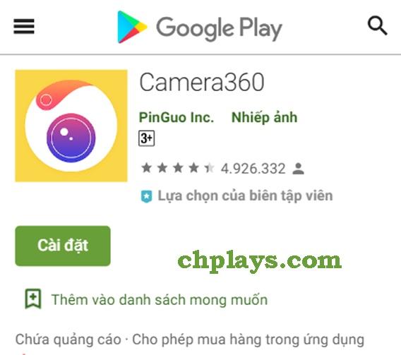 Tải Camera 360 về điện thoại, máy tính bảng Android, IOS miễn phí e