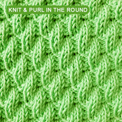 Left Diagonal Rib knit stitch in the round