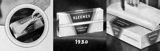 Kleenex, pop-up box 1930
