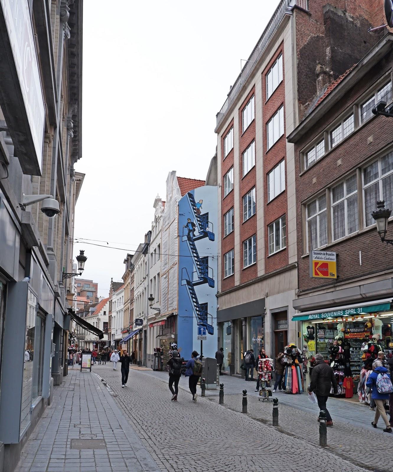 Tintin street art in Brussels, Belgium