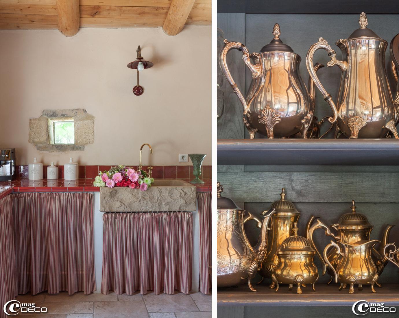 Plan de travail de cuisine maçonné avec un évier en pierre de taille dans un style provençale