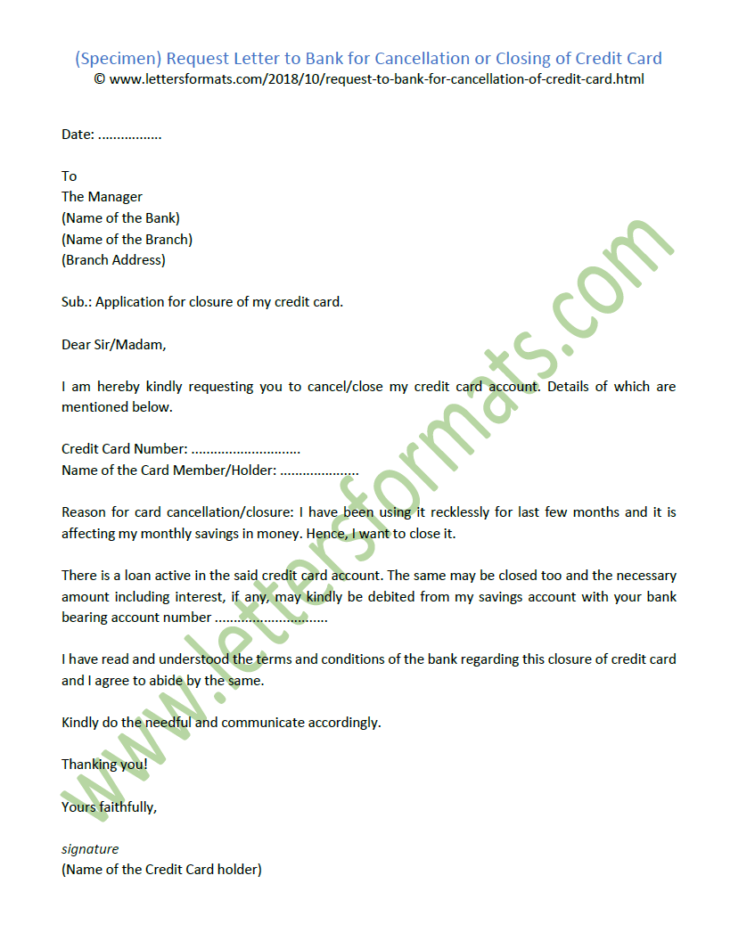 request letter to bank for cancellation   closing of credit