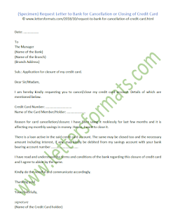 Request Letter to Bank for Cancellation or Closing of Credit Card (Sample)