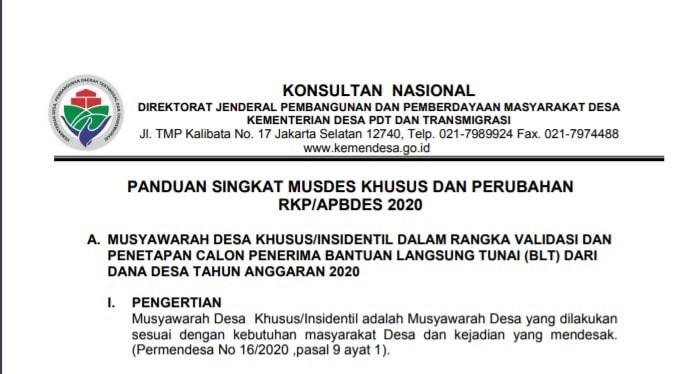 Unsur masyarakat sebagaimana dimaksud diatas terdiri atas Peserta Musrenbang Desa Perubahan RKP/APBDES Tahun 2020