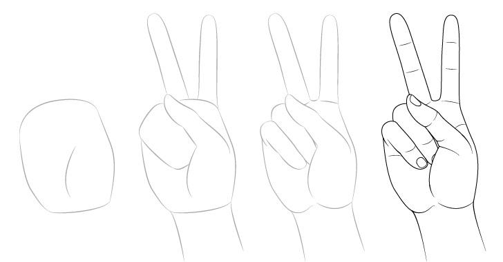 Gambar tanda perdamaian tangan selangkah demi selangkah