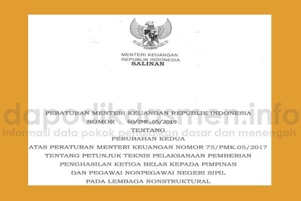 Juknis Pemberian Penghasilan Ketigabelas PNS Nonstruktural (Peraturan Menteri Keuangan Nomor 60/PMK.05/2019)