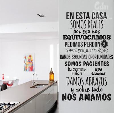 vinilo decorativo pared reglas de la casa frase en esta casa