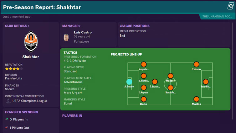 FM2021 Teams to Manager - Shakhtar Donetsk