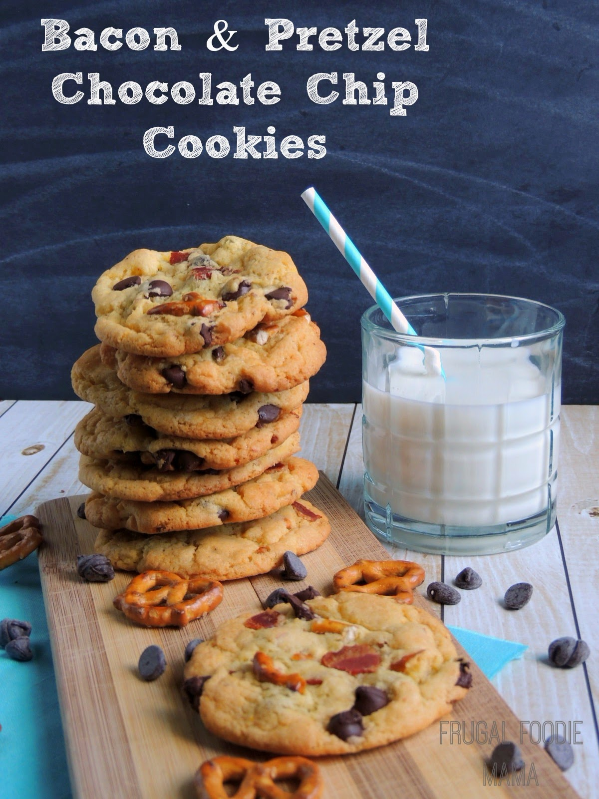Bacon and Pretzel Chocolate Chip Cookies via thefrugalfoodiemama.com