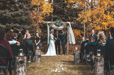 Ceremonia de boda en un bosque con invitados sentados