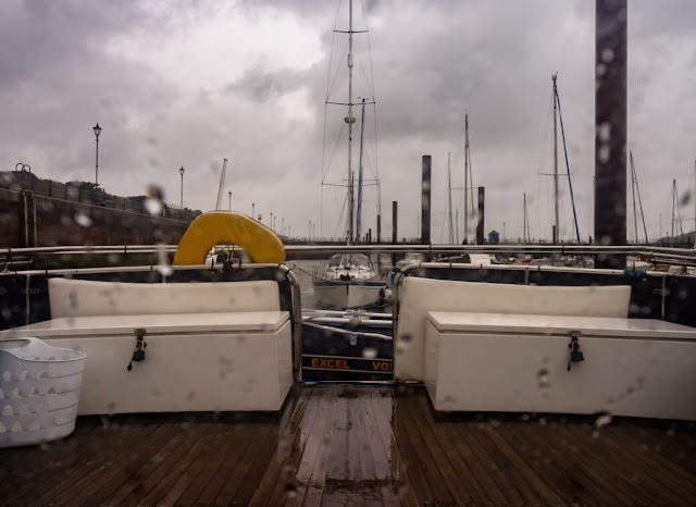 Photo of the wet view across Ravensdale's aft deck on Wednesday afternoon