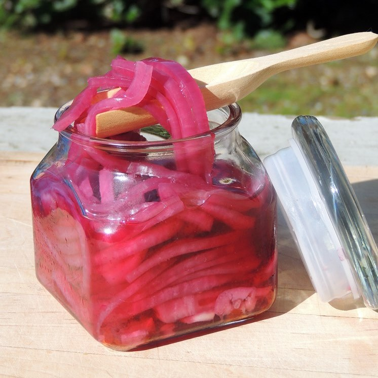Spicy Picked Red Onions - So simple, these bright, crisp, spicy little slices of heaven are perfect for burgers, sandwiches, tacos, and so much more! #onions #pickles #canning #preserves #easy #recipe | bobbiskozykitchen.com